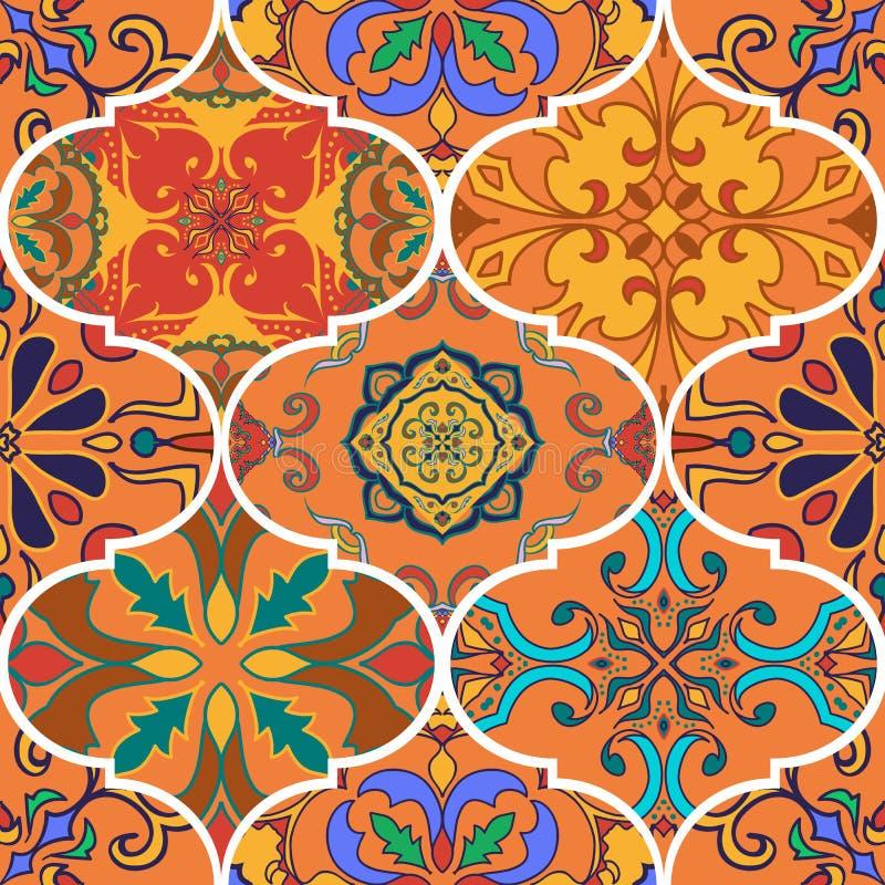Vektornahtlose Beschaffenheit Schönes Patchworkmuster für Design und Mode mit dekorativen Elementen vektor abbildung