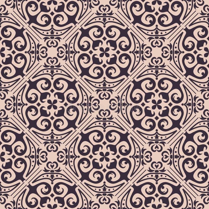 Vektornahtlose Beschaffenheit Verzierung für Keramikziegel Portugiesische azulejos dekoratives Muster lizenzfreie abbildung