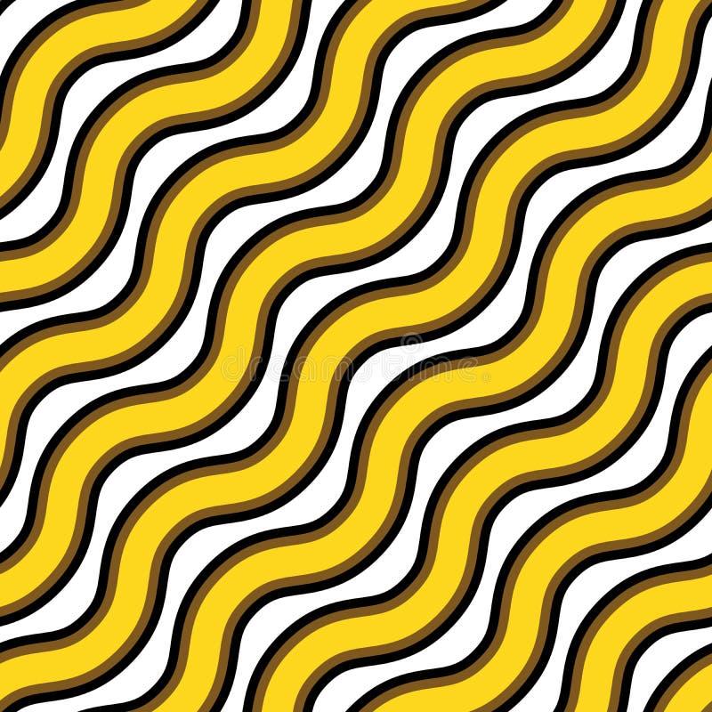 Vektornahtlose Beschaffenheit Wiederholen des Musters des gewellten Goldes und der schwarzen Linien lizenzfreie abbildung