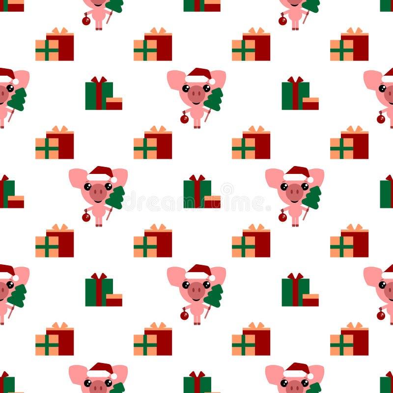Vektornahtloser Hintergrund Karikaturschwein und -geschenke Nettes Ferkel mit Weihnachtsbaum und Ball des neuen Jahres stock abbildung