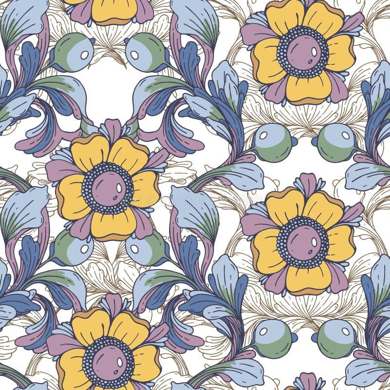 Vektornahtloser Hintergrund Schöne fantastische Blumengrenzverzierung empfindlich stock abbildung