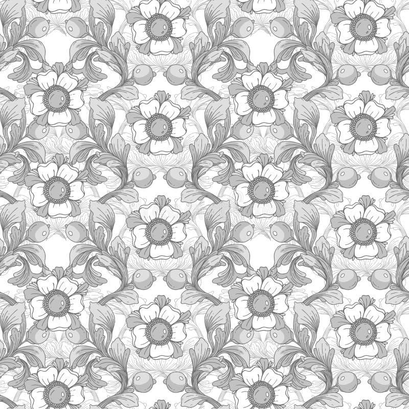 Vektornahtloser Hintergrund Schöne graue fantastische Blumengrenzverzierung empfindlich stock abbildung