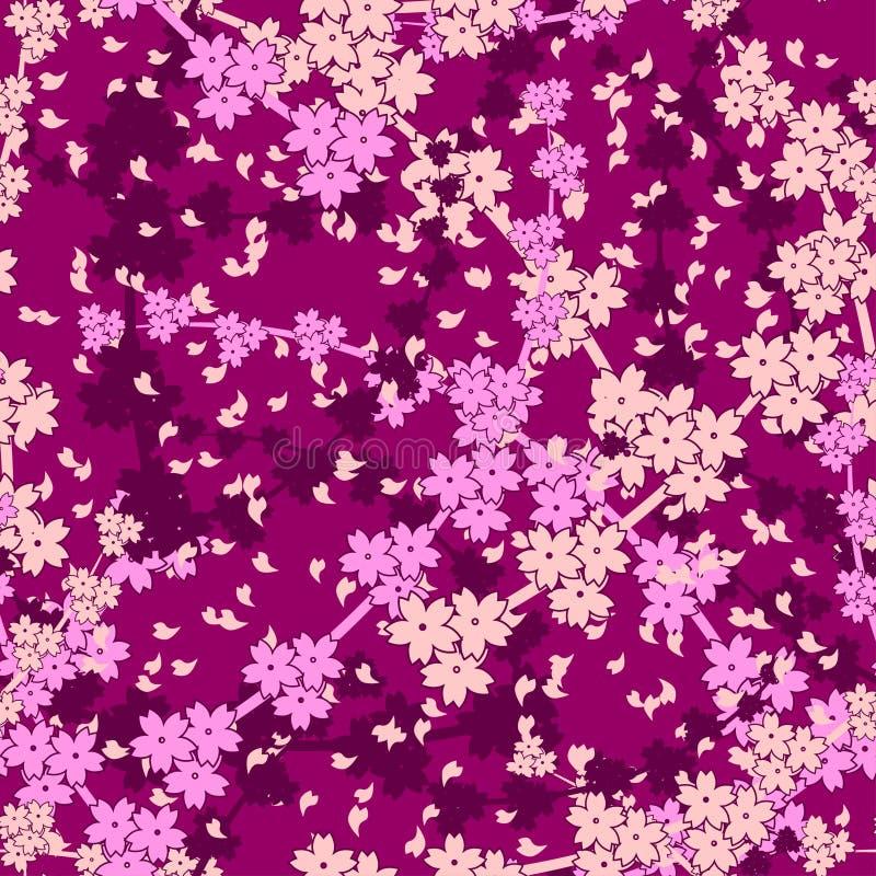 Vektornahtloser Kirschblütenhintergrund lizenzfreie abbildung