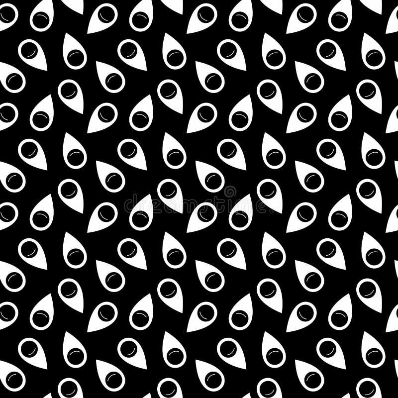Vektornahtloser Schwarzweiss-Stiftikonen-Muster Hintergrund stock abbildung