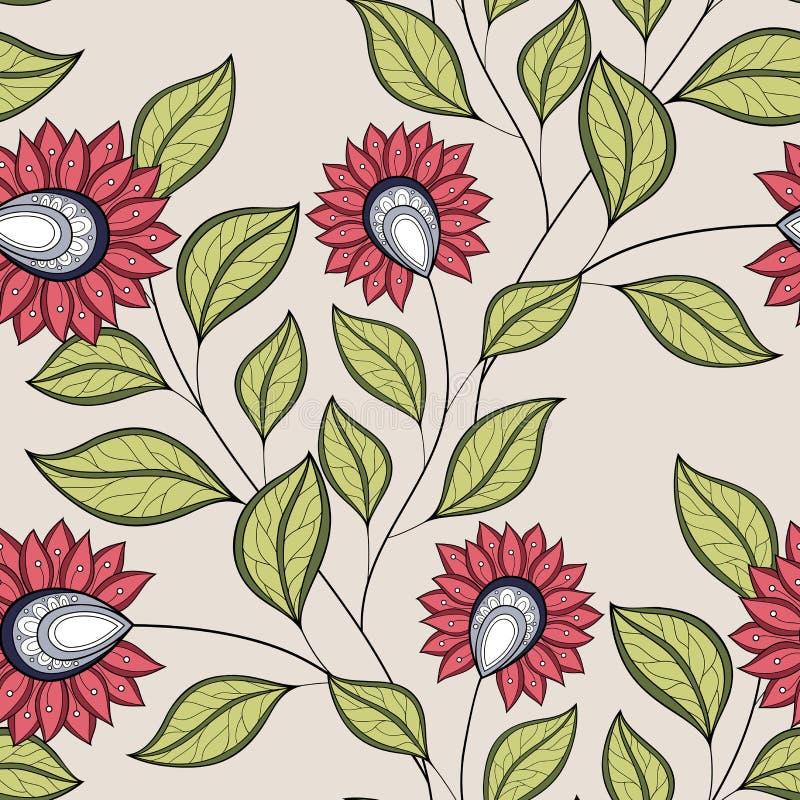 Vektornahtloses Blumenmuster lizenzfreie abbildung