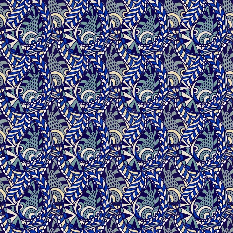 Vektornahtloses Blumenmuster mit Paisley-Spitze Abstrakter blauer Hintergrund lizenzfreie abbildung