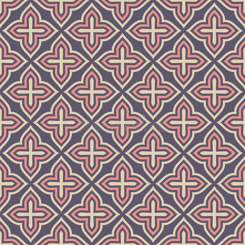 Vektornahtloses dekoratives Muster arabische Art Traditionelles Motiv abstrakter Hintergrund stock abbildung