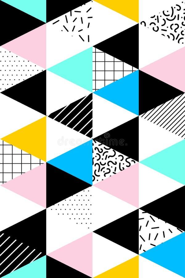 Vektornahtloses geometrisches Muster Memphis-Art Abstraktes 80s lizenzfreie abbildung