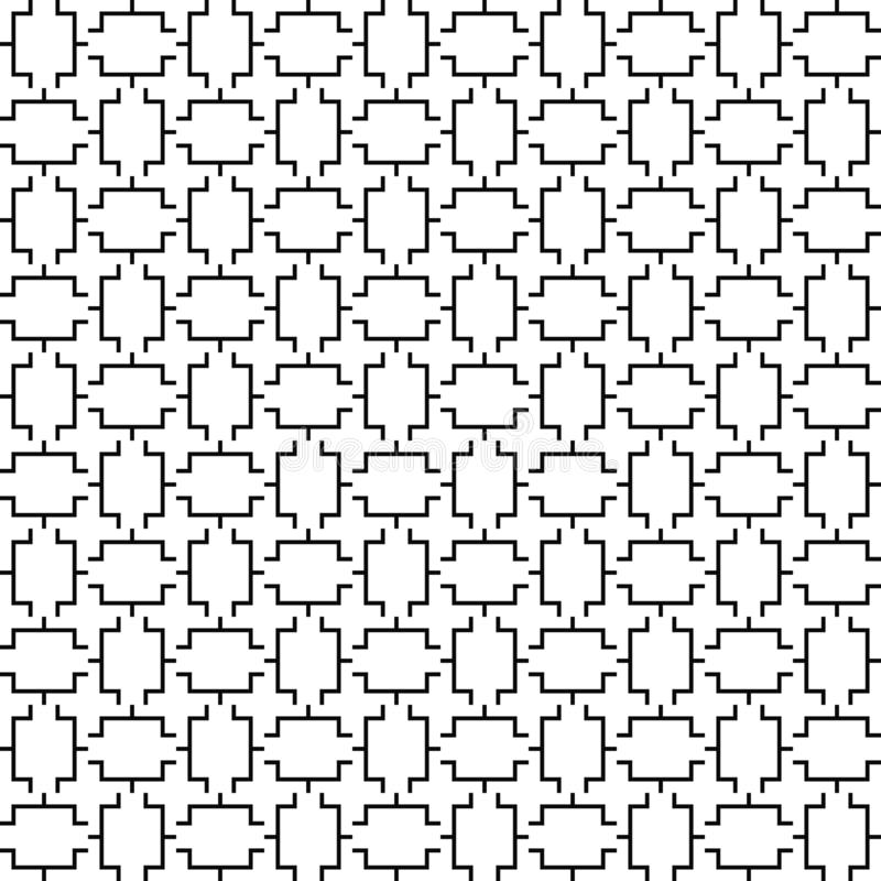 Vektornahtloses geometrisches Muster Zeile Beschaffenheit Schwarzweiss-Hintergrund Einfarbiges Design lizenzfreie abbildung