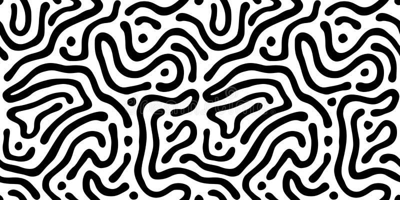 Vektornahtloses Labyrinth-Muster Zusammenfassungsgewellter Schwarzweiss-Hintergrund lizenzfreie abbildung