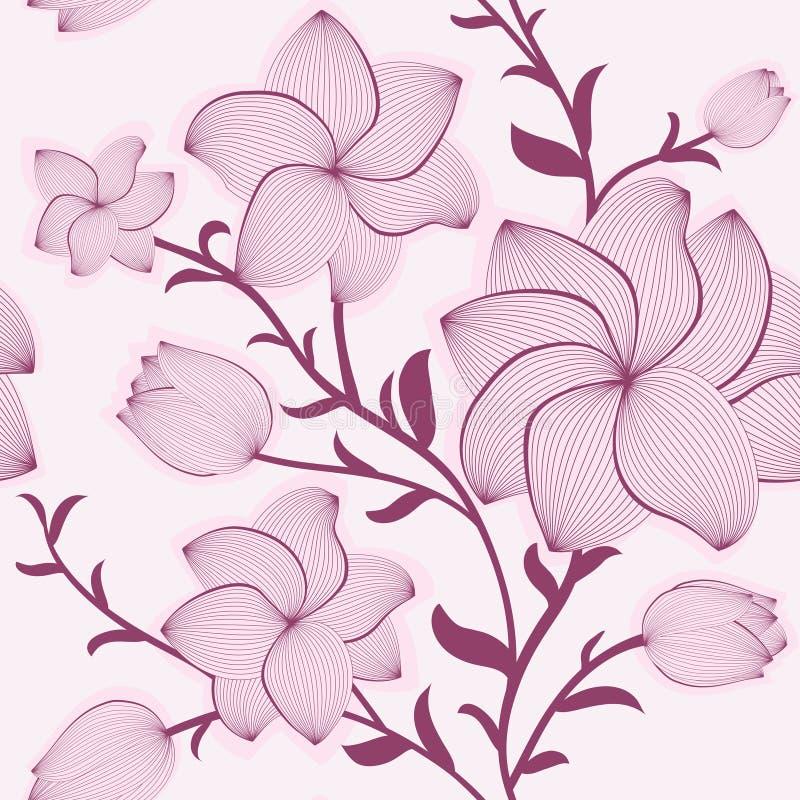 Vektornahtloses mit Blumenmuster vektor abbildung