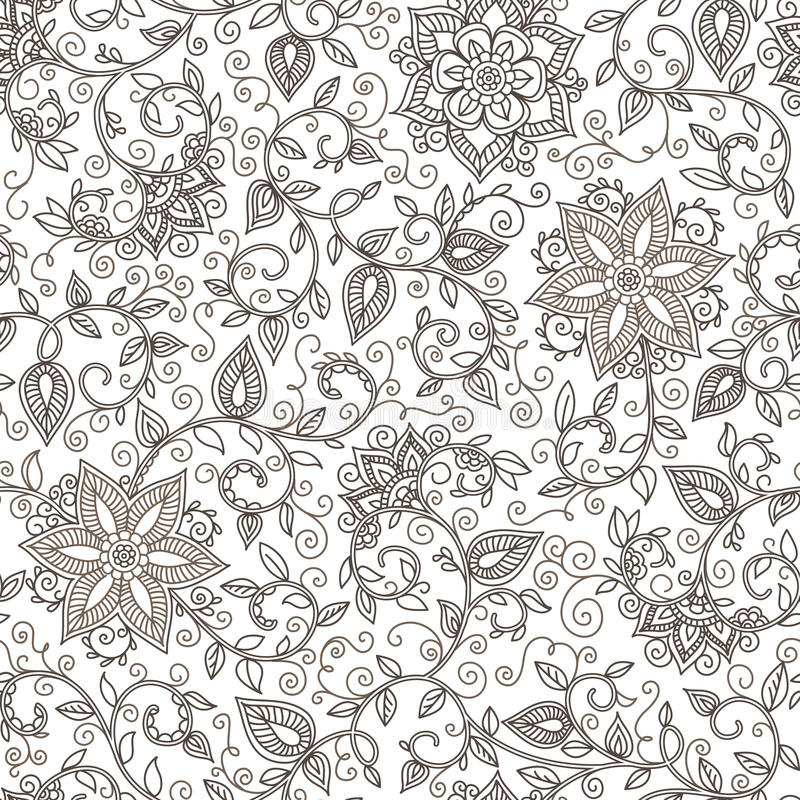 Vektornahtloses Schwarzweiss-Blumenmuster vektor abbildung