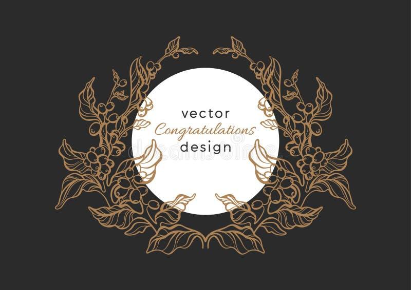 Vektornaturemblem Lyxig rokokomodell, elegansram stock illustrationer