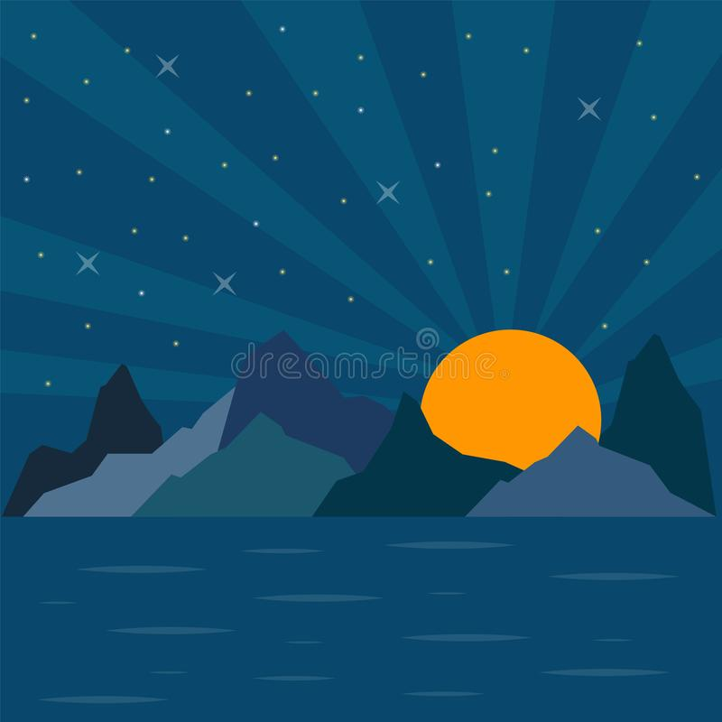 Vektornatursikt av ett berg med havshavet på natten på solar vektor illustrationer