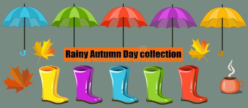 Vektornedgångsamling, uppsättning Regnig Autumn Day samling, gemkonst Paraply lönn, regnkängor stock illustrationer