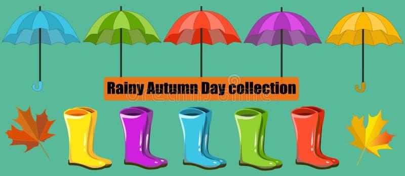 Vektornedgångsamling, uppsättning Regnig Autumn Day samling, gemkonst Paraply lönn, regnkängor vektor illustrationer