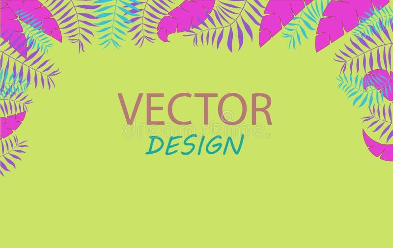 Vektorneonbaner med palmblad Ramdesign för text Baner med tropiska växter stock illustrationer