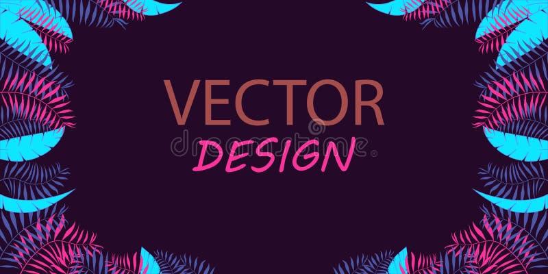 Vektorneonbaner med palmblad Ramdesign för text Baner med tropiska växter royaltyfri illustrationer