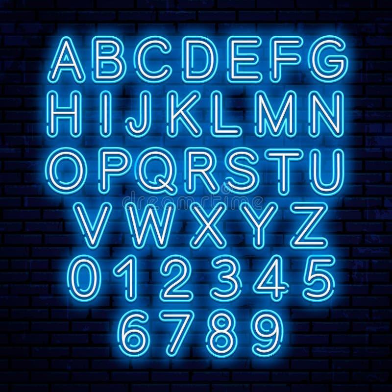 Vektorneonbokstäver, blått och vitt vektor illustrationer