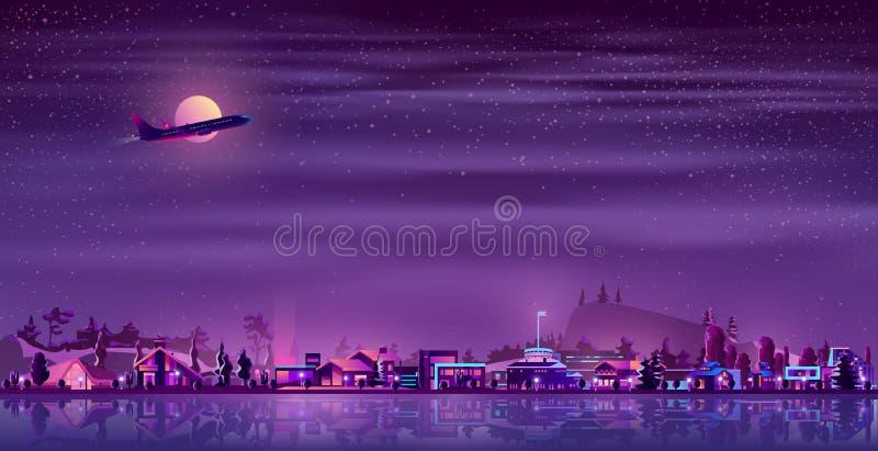 Vektorneonfischerdorf nachts, Landschaft stockbilder