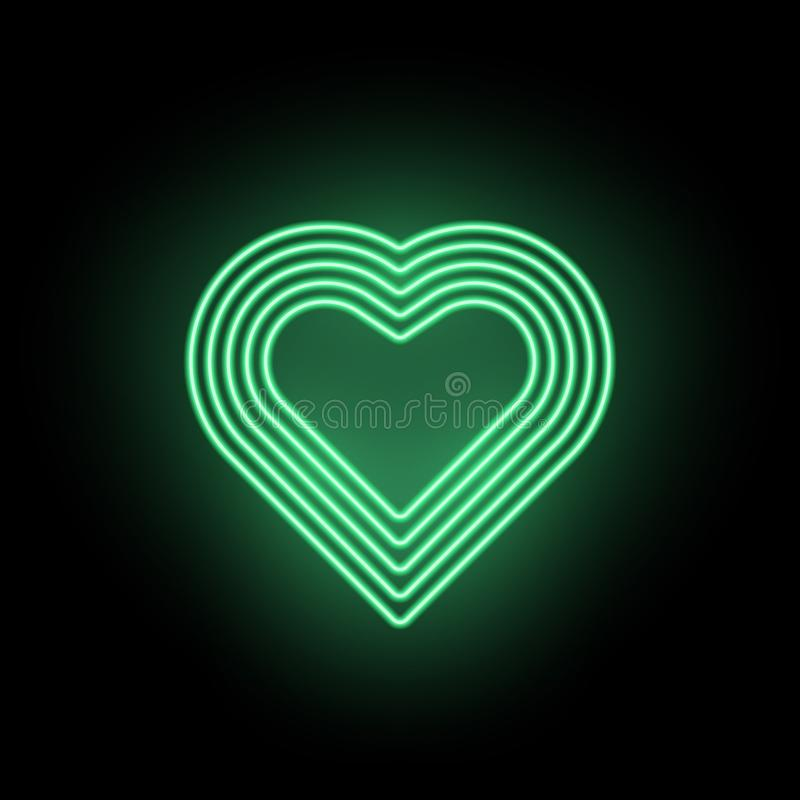 Vektorneonhjärta, neonkontur av grön hjärta vektor illustrationer