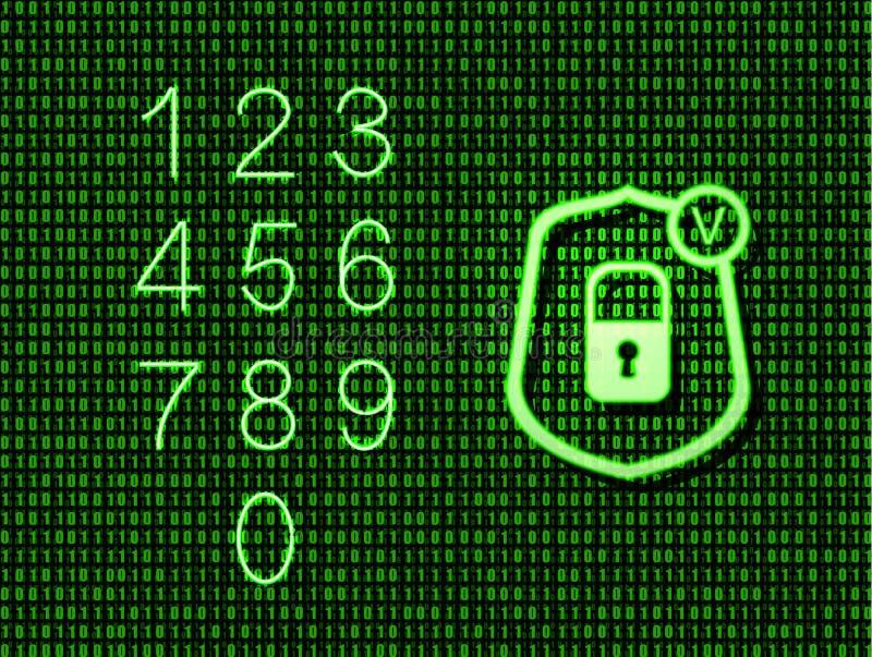 Vektorneonlås i sköldsymbolen och numren uppsättning, glödande grön illustration, binär kod vektor illustrationer