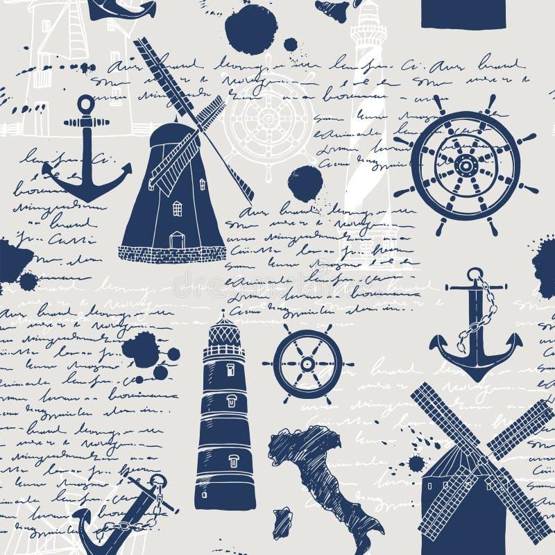 Vektorns abstrakta sömlösa mönster, tema för resor och äventyr, gammalt handskript royaltyfri illustrationer