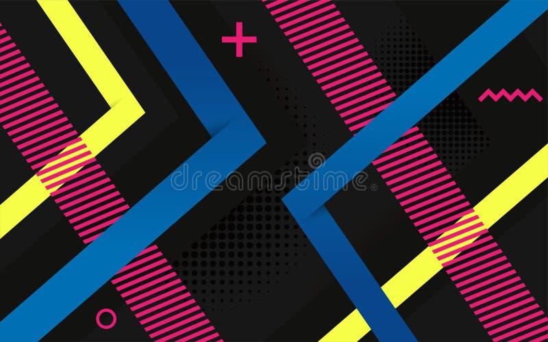 Vektorns abstrakta svarta bakgrundsdesign Moderna dynamiskt färgade former och linjabstrakt bakgrund vektor illustrationer