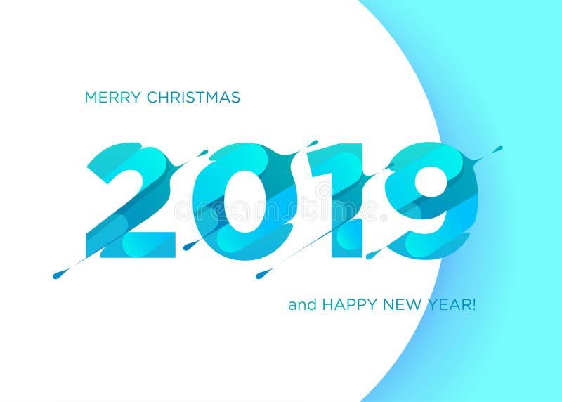 Vektornummer 2019 Glad jul och lyckligt nytt år royaltyfri illustrationer
