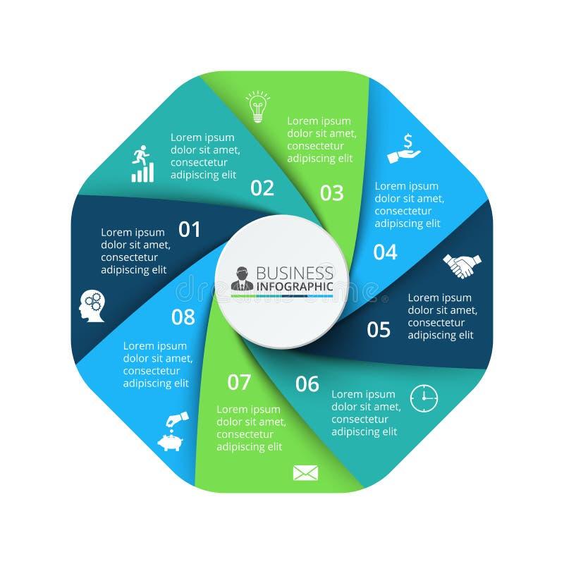 Vektoroktogonbeståndsdel för infographic Affärsidé med 8 alternativ vektor illustrationer