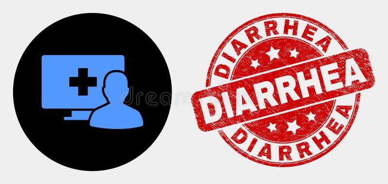 Vektoronline-medicinsk tålmodig symbol och skrapad diarréskyddsremsa royaltyfri illustrationer