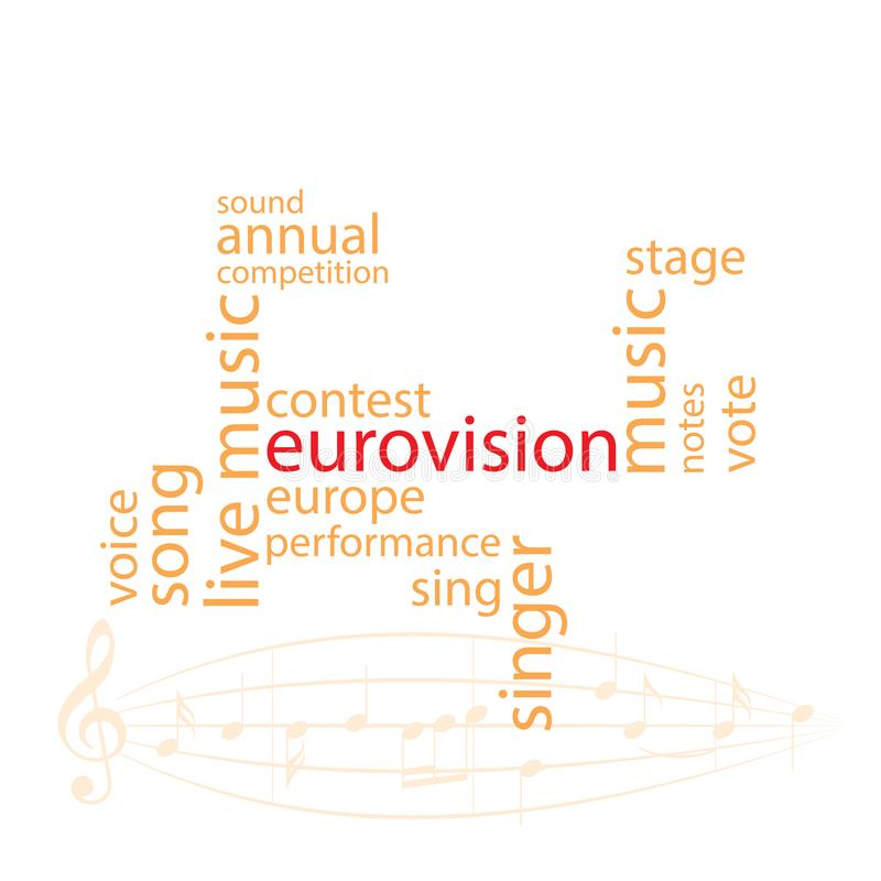 Vektorordcollage i orange färg - strid för eurovision sång vektor illustrationer