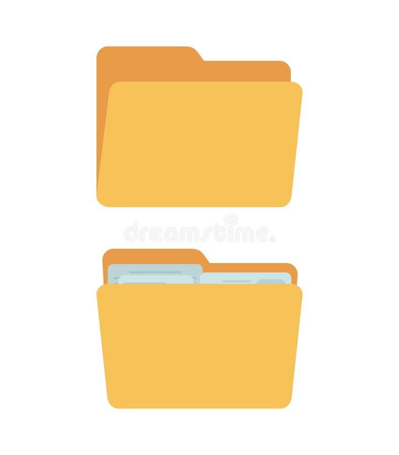Vektorordner - voll und leer, gelbe Behälter für Dokumente vektor abbildung