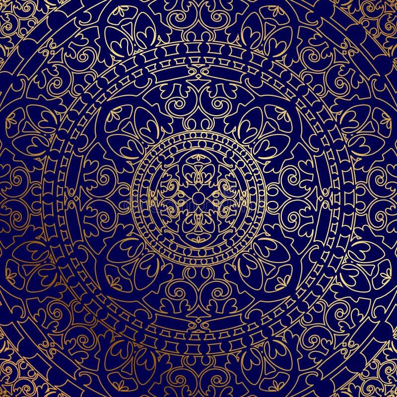 Orientalischer blauer Hintergrund mit Goldverzierung stock abbildung