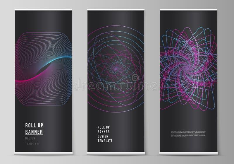 Vektororienteringen av rullar upp banerställningar, vertikala reklamblad, mallar för flaggadesignaffär Slumpmässiga kaotiska linj vektor illustrationer