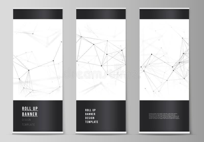 Vektororienteringen av rullar upp banerställningar, vertikala reklamblad, mallar för flaggadesignaffär Teknologi vetenskap royaltyfri illustrationer