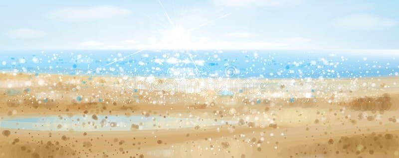 Vektorozean mit blauem Himmel im Sonnenschein stock abbildung