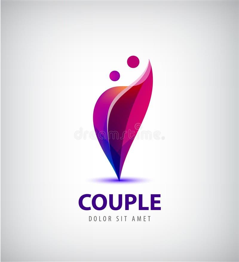Vektorpaarlogo Lieben Sie, Unterstützung, Mann- und Frauenzusammen Ikone, Konzept vektor abbildung