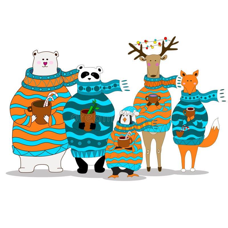 Vektorpanda, björn, räv, pingvin, bärande halsduk för hjortar vektor illustrationer
