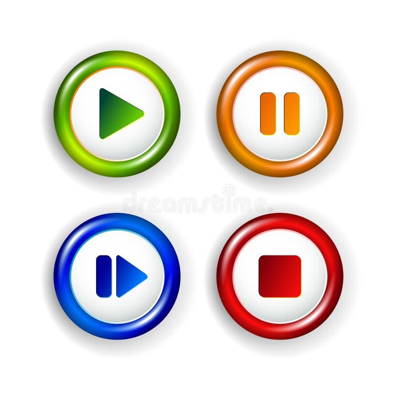 Vektorpanelbeståndsdelar - leka, stoppa, stoppa, framåt royaltyfri illustrationer