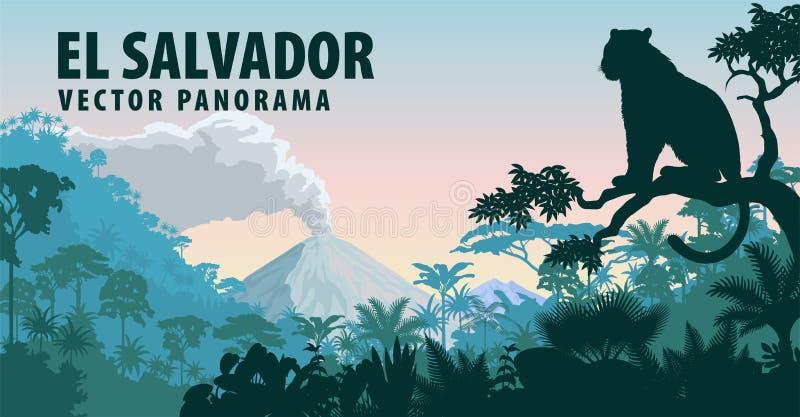 Vektorpanorama av El Salvador med den mest raimforest djungeln och jaguar royaltyfri illustrationer