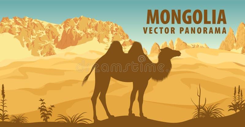 Vektorpanorama av Mongoliet med den bactrian kamlet i öken royaltyfri illustrationer