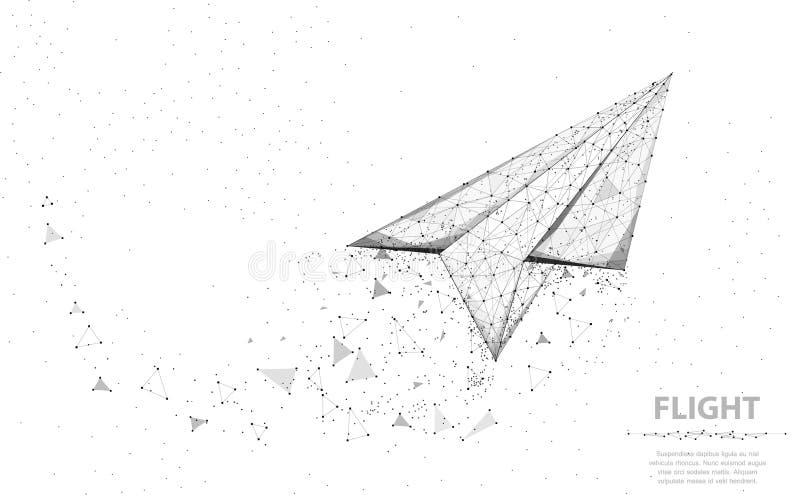 Vektorpapierflugzeug Abstrakte polygonale wireframe Flächenillustration auf weißem Hintergrund Traumsymbol vektor abbildung