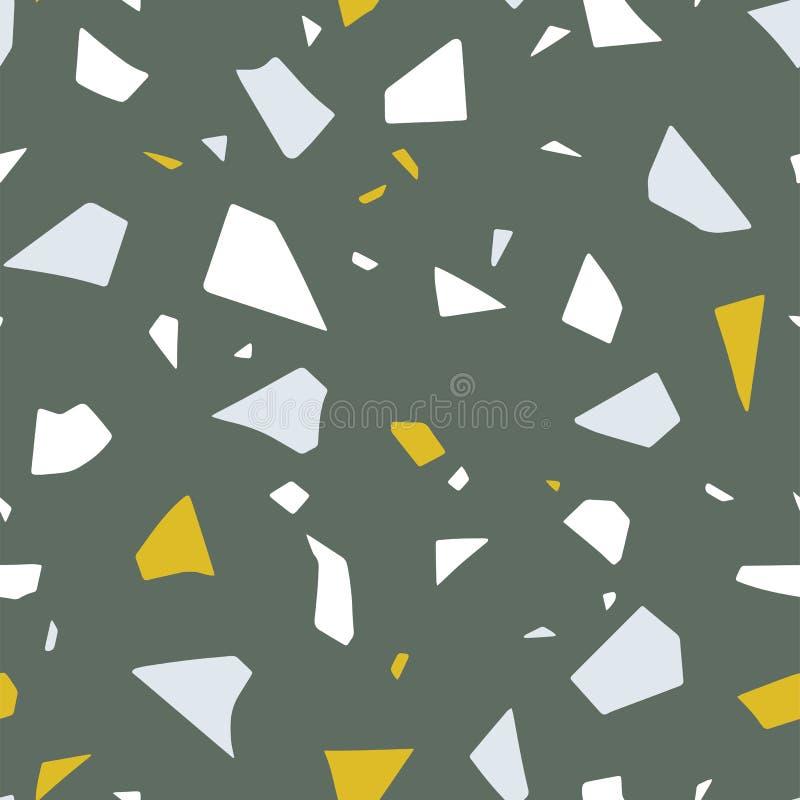 Vektorpapper klippte handcrafted färgrik textur Terrazzo som däckar effekt, abstrakt sömlös modell vektor illustrationer