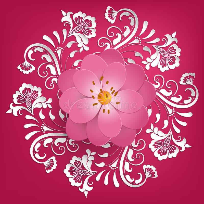 Vektorpapper klippte sakura blommor med mehndiprydnaden på bakgrund Blom- volymetrisk sammansättning stock illustrationer