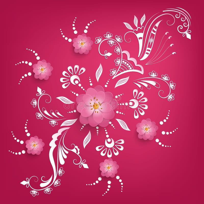 Vektorpapper klippte sakura blommor med mehndiprydnaden på bakgrund Blom- volymetrisk sammansättning vektor illustrationer