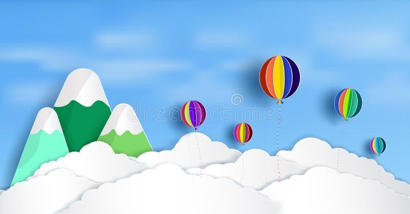 Vektorpapperssnitt Och det finns härliga och färgrika ballonger som svävar ovanför molnen royaltyfri illustrationer