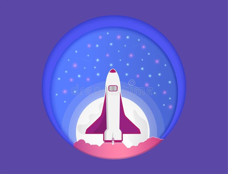 Vektorpapperssnittet och universumet, och där var raket som skjuta i höjden upp vektor illustrationer