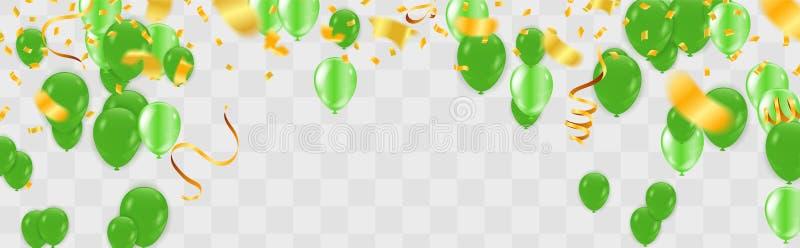 Vektorpartei steigt Illustration im Ballon auf Konfettis und Bänder kennzeichnen Bänder, Feierhintergrundschablone stock abbildung