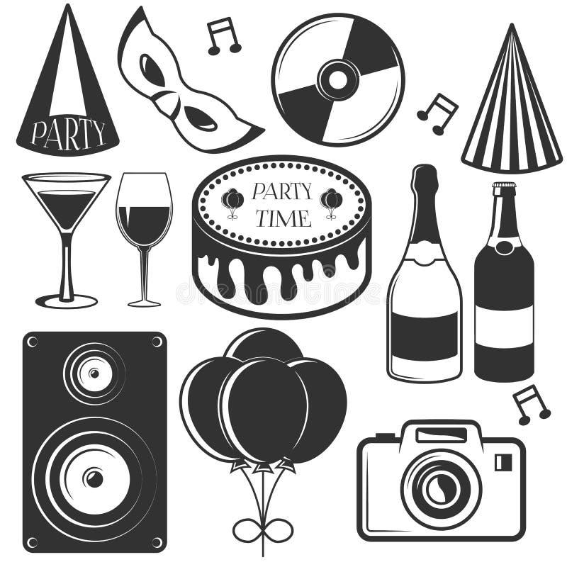 Vektorparteisatz Embleme, Ausweise, Aufkleber oder Fahnen Gestaltungselemente in der Weinlese-Art Schwarze Ikonen und Logo stock abbildung